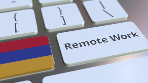 Remote Work text and flag of Armenia on the computer keyboard. Telecommuting or ライブ動画