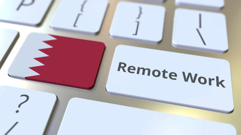 Remote Work text and flag of Bahrain on the computer keyboard. Telecommuting or ライブ動画