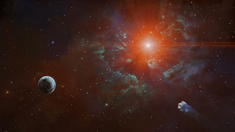 Space background. Asteroid fly to planet in colorful nebula and stars. Elements furnished by NASA. Animation