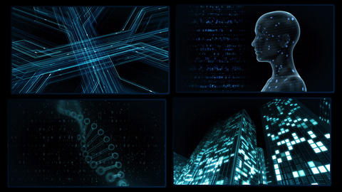 Digital Network Technology AI artificial intelligence data concepts Background A 2x2 B blue 4k Animation