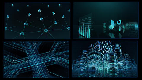 Digital Network Technology AI artificial intelligence data concepts Background A 2x2 D blue 4k Animation