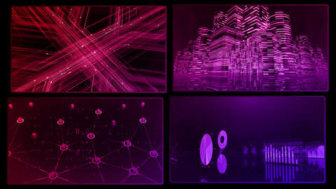 Digital Network Technology AI artificial intelligence data concepts Background A 2x2 D red 4k Animation