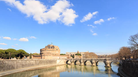 Castle Sant Angelo. Rome, Italy. Time Lapse Footage