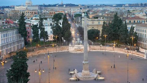 Piazza del Popolo. Dawn. Rome, Italy Footage