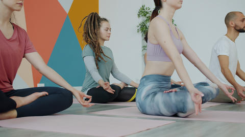 Group of young people meditating sitting in lotus position during yoga practice Live Action