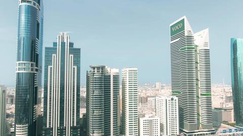 DUBAI, UNITED ARAB EMIRATES - DECEMBER 30, 2019. Aerial shot of the voco Dubai Live Action