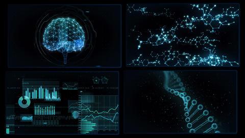 Digital Network Technology AI artificial intelligence data concepts Background A 2x2 P blue 4k CG動画