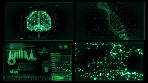 Digital Network Technology AI artificial intelligence data concepts Background A 2x2 P green 4k Animation