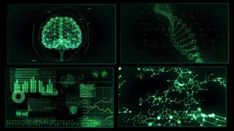 Digital Network Technology AI artificial intelligence data concepts Background A 2x2 P green 4k CG動画