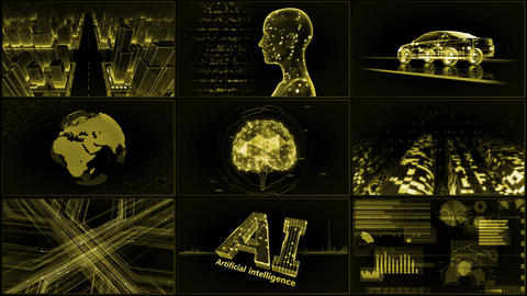 Digital Network Technology AI artificial intelligence data concepts Background A 3x3 A yellow 4k Animation