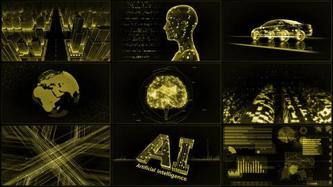 Digital Network Technology AI artificial intelligence data concepts Background A 3x3 A yellow 4k CG動画