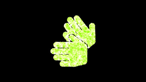 Symbol sign language shimmers in three colors: Purple, Green, Pink. In - Out loop. Alpha channel Animation