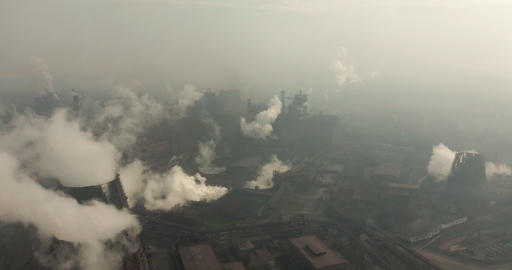 Top view of the metallurgical plant. Smoke coming out of factory pipes. ecology Live Action