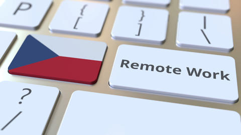 Remote Work text and flag of the Czech Republic on the computer keyboard Live Action