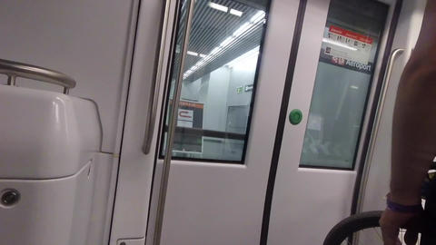 September 24, 2017 Spain, Barcelona. Subject transportation bike in the subway Live Action