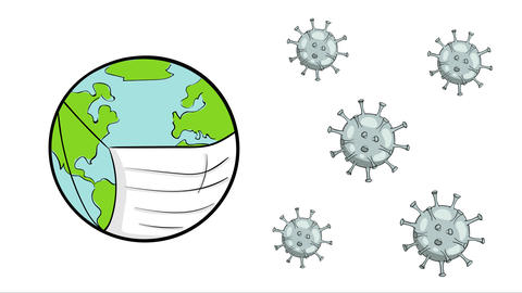 Earth and virus microbes white Animation