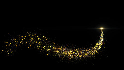Gold Glitter Star Dust Magic Trail Sparkling Particles On Black Live Action