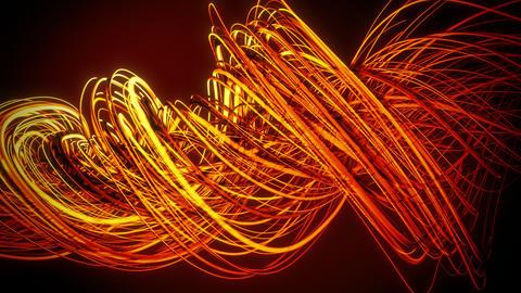 Orange Neon Twisting Strings Lines VJ Loop Background Animation