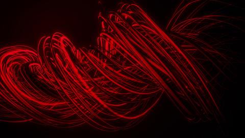Red Neon Twisting Strings Lines VJ Loop Background Animation