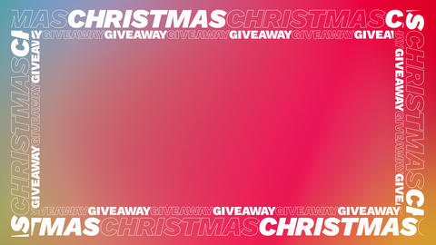 Sliding CHRISTMAS GIVEAWAY Text Borders on Red and Green Gradient Backdrop Videos animados
