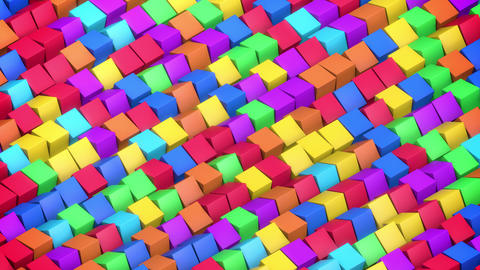 Fast Randomly Rotating Animated 3D Isometric Colorful Children Toy Cubes Animation