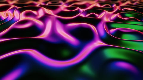Iridescent Dark Pink and Green Animated 3D Liquid Ripples Animation