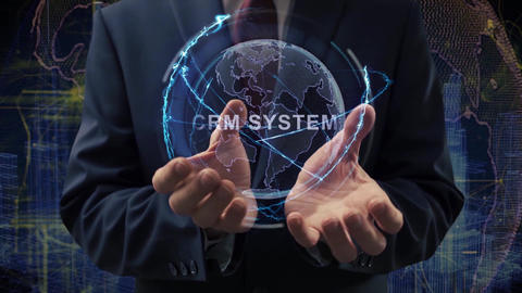 Male hands activate hologram CRM system Live Action