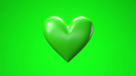 Green broken heart objects in green background. Heart shape object shattered into pieces Animation