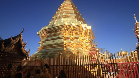 Wat Phra That Doi Suthep is tourist attraction of Chiang Mai, Thailand Live Action