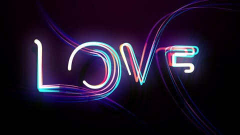 Glowing Animation of Multicolored Text Love for Vj at the Disco Party Live Action