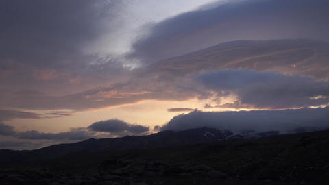 Dramatic sunset wit amazing clouds in Iceland Live Action