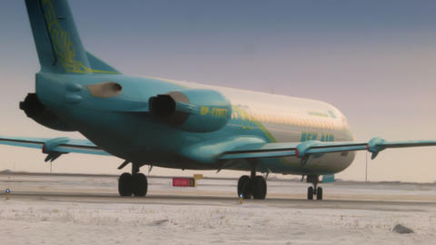 ASTANA, KAZAKHSTAN - JANUARY 7, 2018: Passenger plane moves to the runway for Live Action