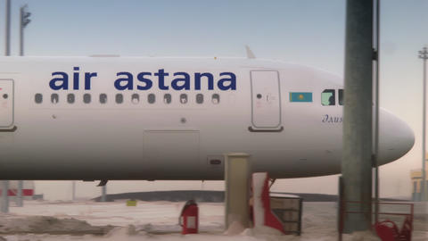 ASTANA, KAZAKHSTAN - JANUARY 7, 2018: After a soft landing, the plane moves to Live Action