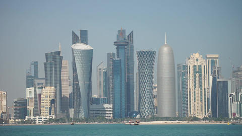 Panoramic view of modern skyline of Doha. Qatar on sunny day Live Action