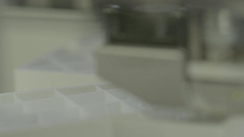 3D printer during printing close-up Live Action