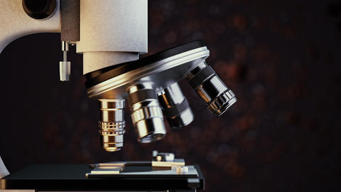 Close-up shot of scientific laboratory microscope examining a sample slide Animation