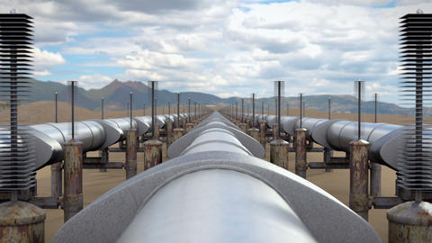 Industrial view above oil and natural gas pipeline Animation