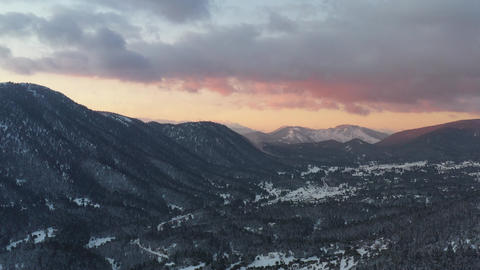 The Aerial view of a sunset over mountain in Arahova, Greece, a view of the Live Action