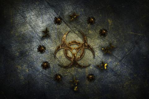 Coronavirus, COVID-19 outbreak pandemic all over European Union. Biohazard sign and Corona Bacteria Fotografía