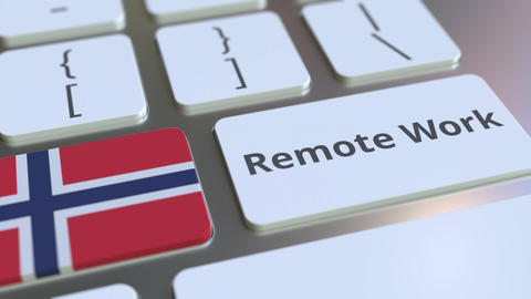 Remote Work text and flag of Norway on the computer keyboard. Telecommuting or Live Action