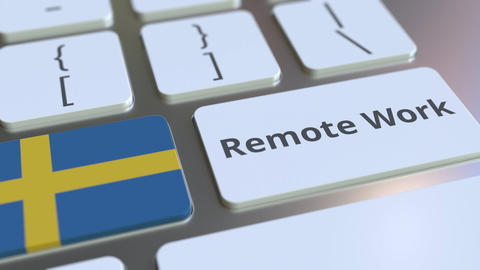 Remote Work text and flag of Sweden on the computer keyboard. Telecommuting or ライブ動画