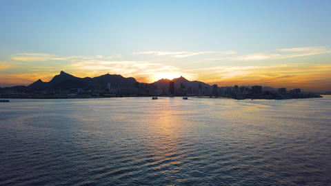 Aerial View Drone Footage of Sea With Sunset in Rio De Janeiro, Brazil. 4K 60fps Live Action