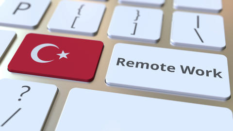 Remote Work text and flag of Turkey on the computer keyboard. Telecommuting or ライブ動画