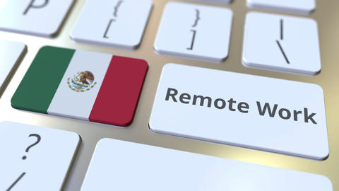 Remote Work text and flag of Mexico on the computer keyboard. Telecommuting or ライブ動画
