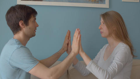 Couple relaxing exercise Live Action