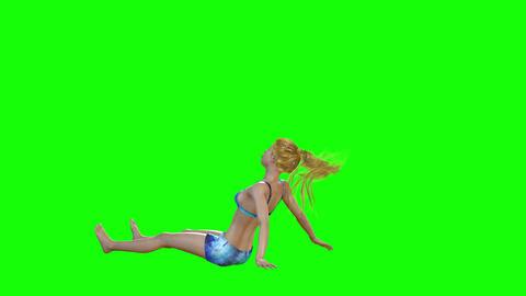 582 4k 3d animamated avatar of girl on beach for sun bathing Animation
