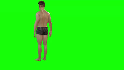 583 4k 3d animated avatar boy suntan on beach after walking Animation