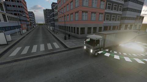 Autopilot truck gps. Smart automobile. Future technology concept. Self driving Live Action