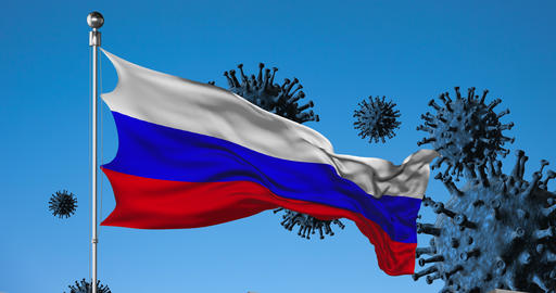Russian flag on a background of viruses and a fence animation Live-Action
