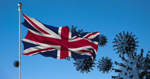 United kingdom flag on a background of viruses and a fence animation Live-Action